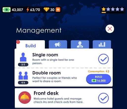 Hotel Empire Tycoon's management screen lets you build a double room,