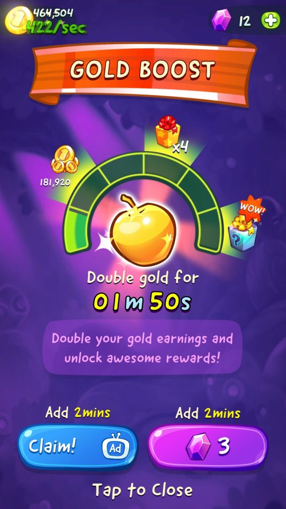 Golden fruits boost Gold earned from eating fruits for a few minutes.