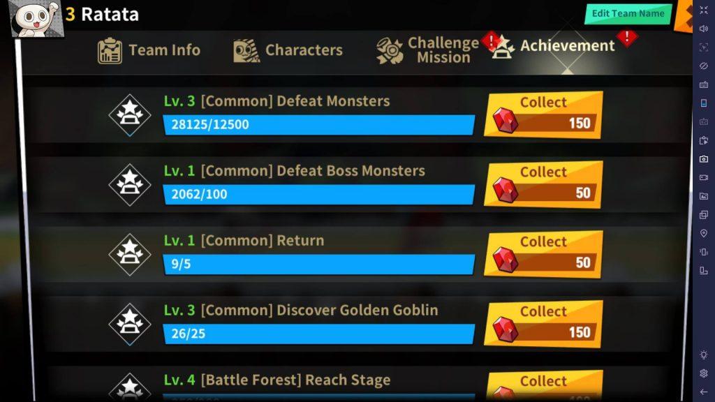 Get gems from achievements