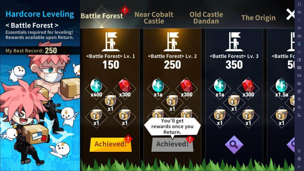 Get rewards for hardcore leveling
