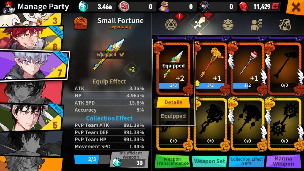 Equip legendary weapons to your heroes