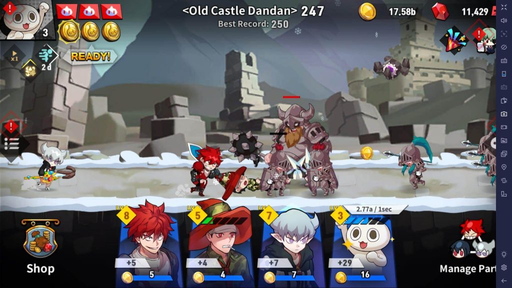 Power up heroes in Lucid Adventure Idle RPG