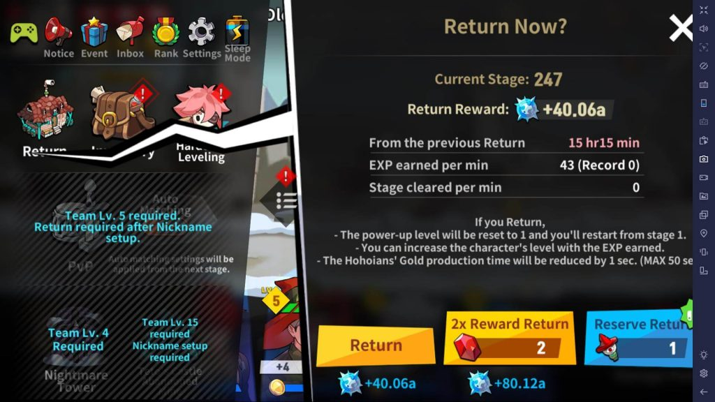 Use Return to gain EXP for leveling up characters