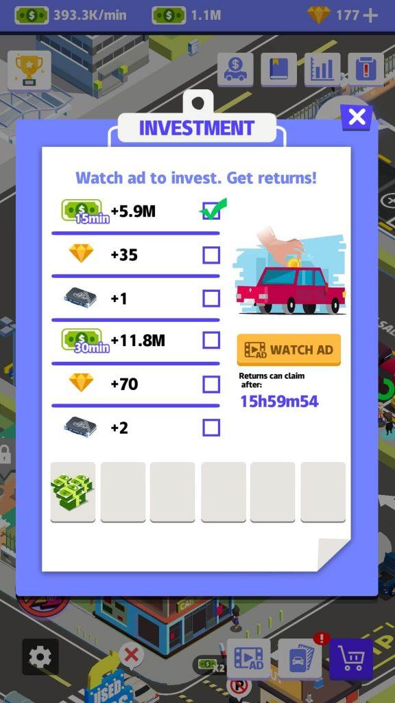 Investments Menu