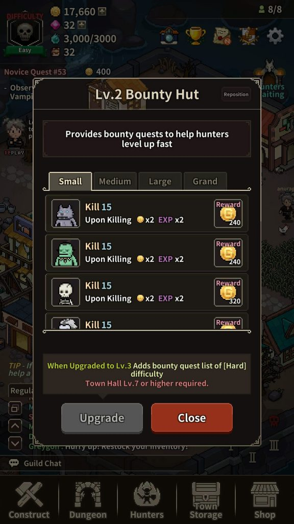 In Evil Hunter Tycoon, Bounty Hut is where you can give quests to hunters.