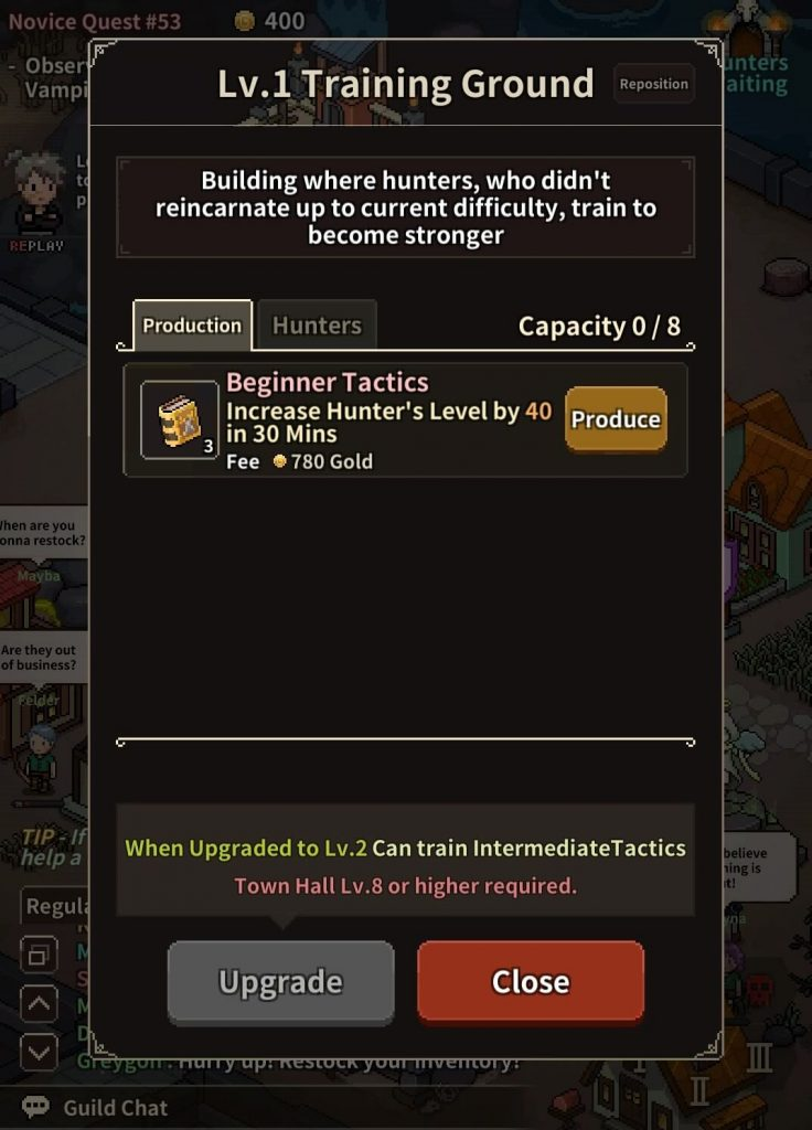Increase hunter level in the Training Ground.