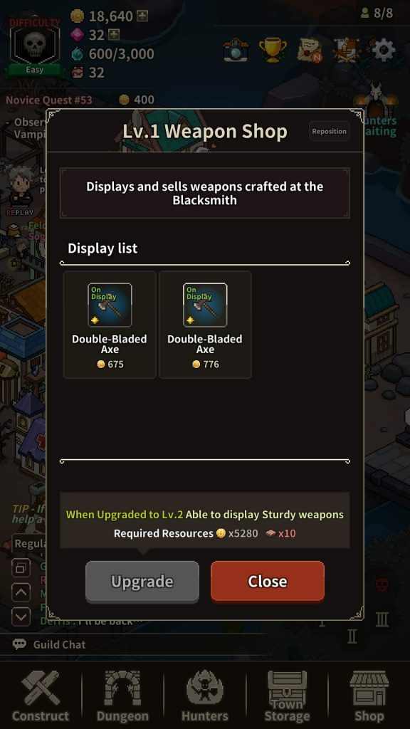 Weapons crafted in the blacksmith will be displayed in the weapon shop.