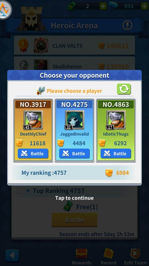 Select an opponent wisely