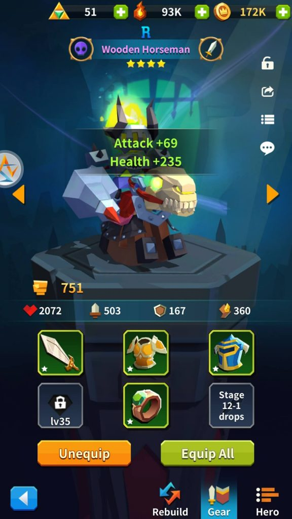 Equipping gear to improve stats