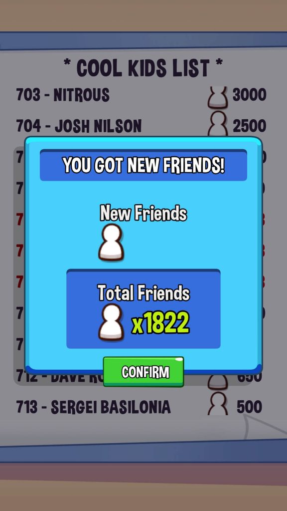 Add friends to reach the top of the cool list.