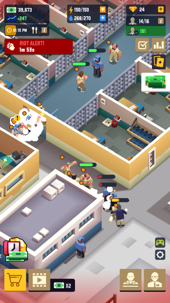 A riot scene in Prison Empire Tycoon