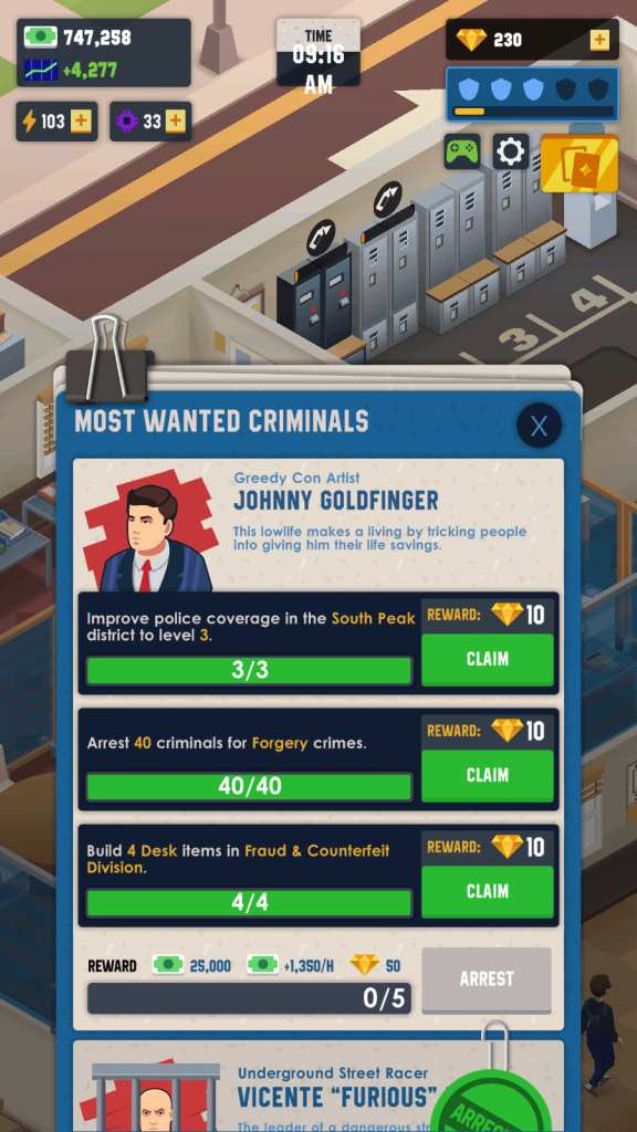 Complete all quests to arrest most wanted criminals like Johnny Goldfinger