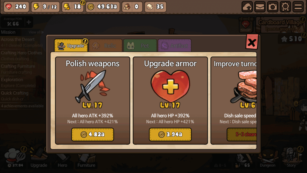Upgrade armor and weapon for all heroes