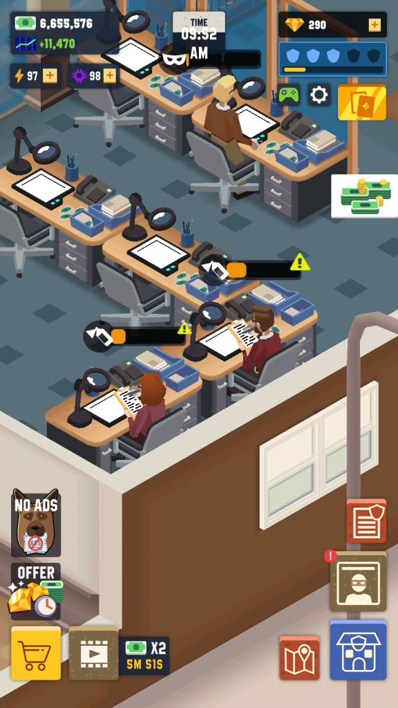 Idle Police Tycoon: Exclamation mark above an employee indicates he/she is overworked.
