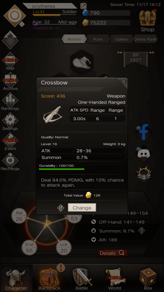Weapon stat -  Range