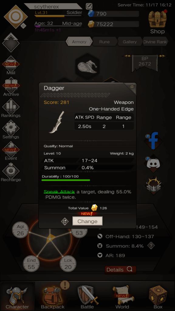 Weapon stats - ATK SPD