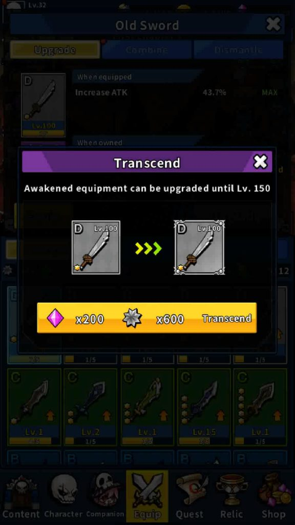 Check how many stones and amethysts you will need to transcend a weapon.