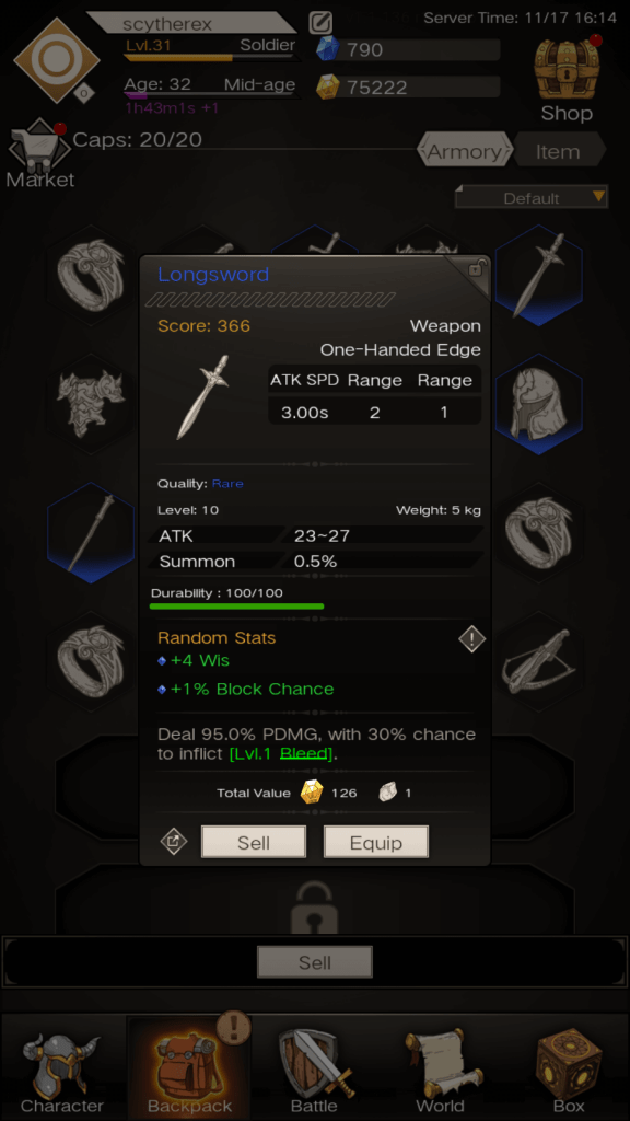Obtain mithril from selling rare weapons.