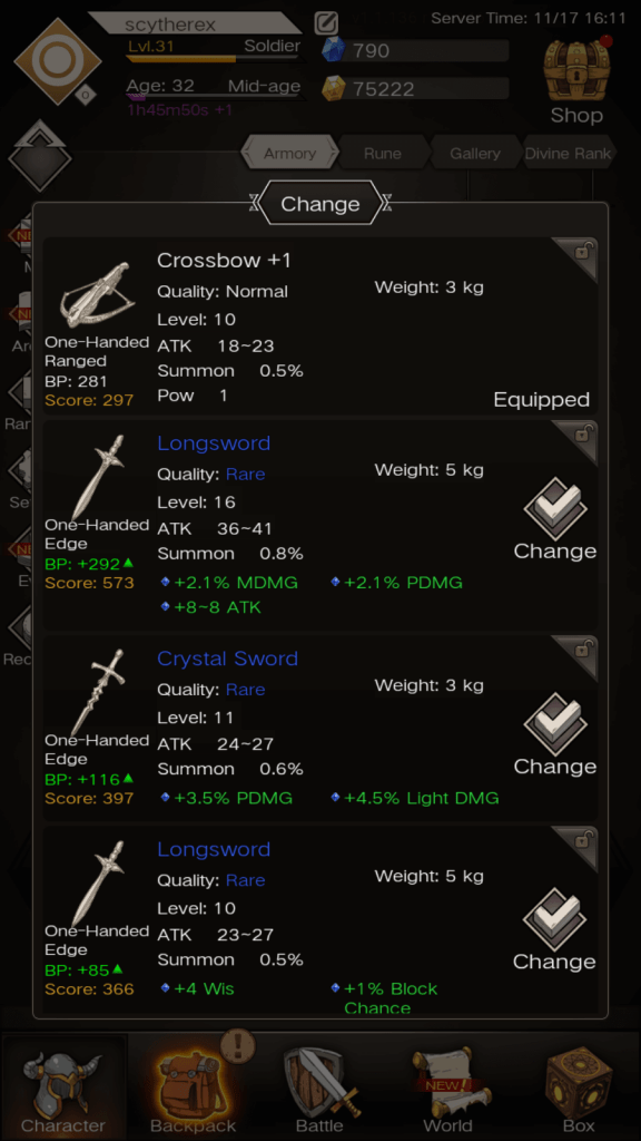 Changing weapons