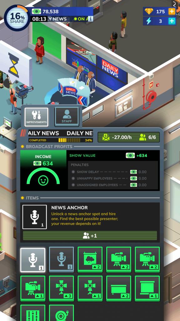 TV Empire Tycoon broadcast room