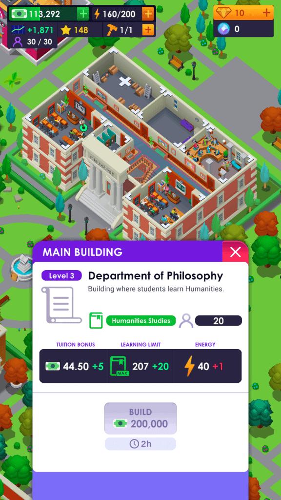 Department Summary in University Empire Tycoon