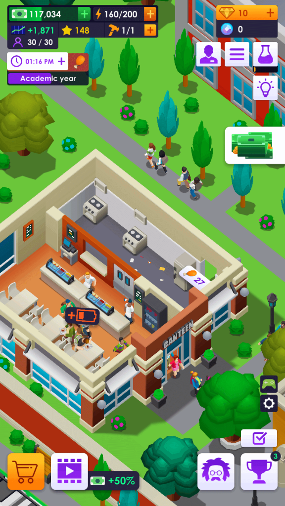 The Cafeteria in University Empire Tycoon
